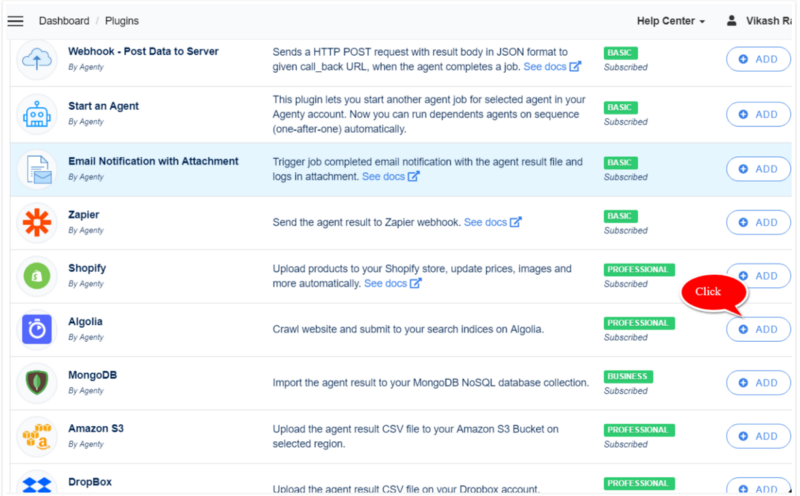 Algolia Integration: Crawl your website and import to
