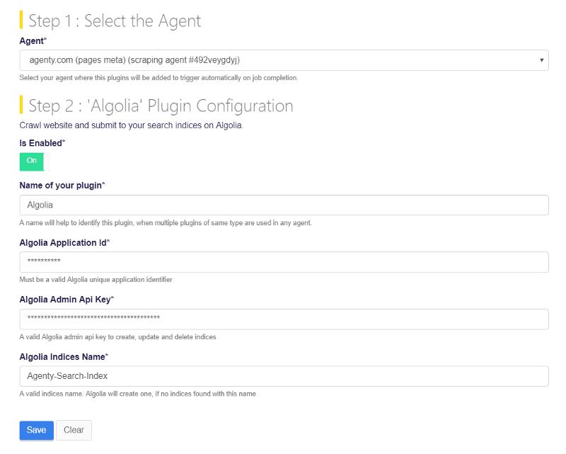 Algolia credentials and api key