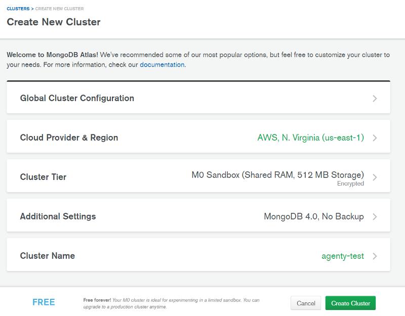 Create MongoDB cluster