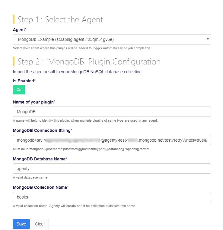 Configure MongoDB plugin in Agenty