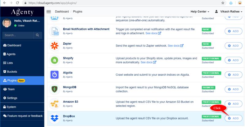 Configure Dropbox plugin in Agenty