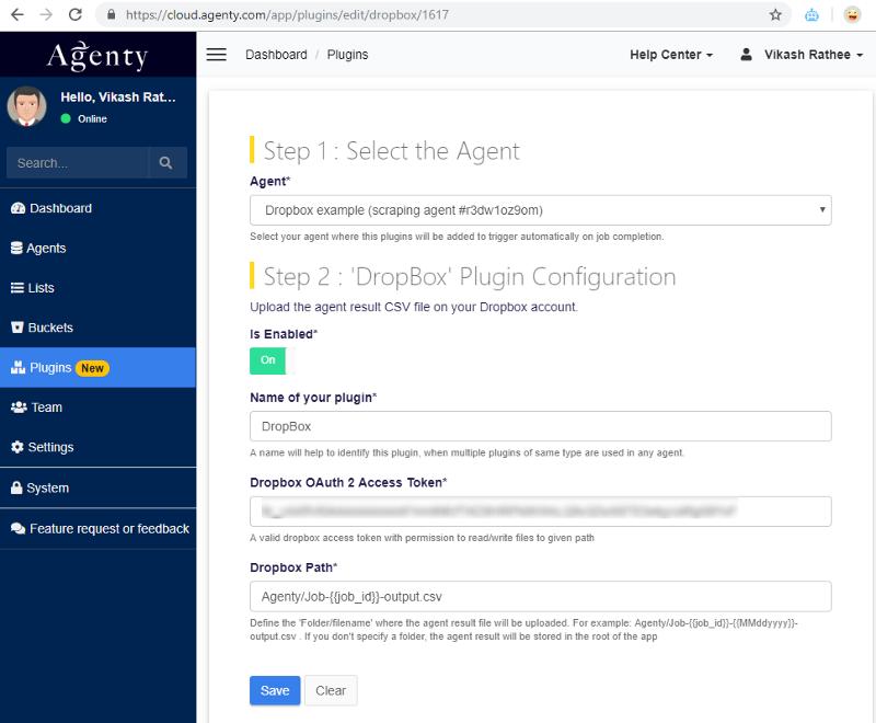 Agenty Dropbox plugin setup
