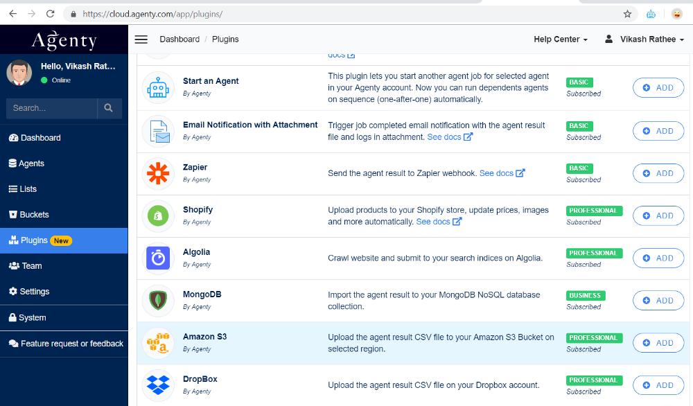 Configure S3 plugin in Agenty