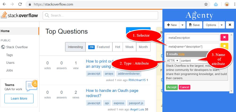 HTML meta tags scraping