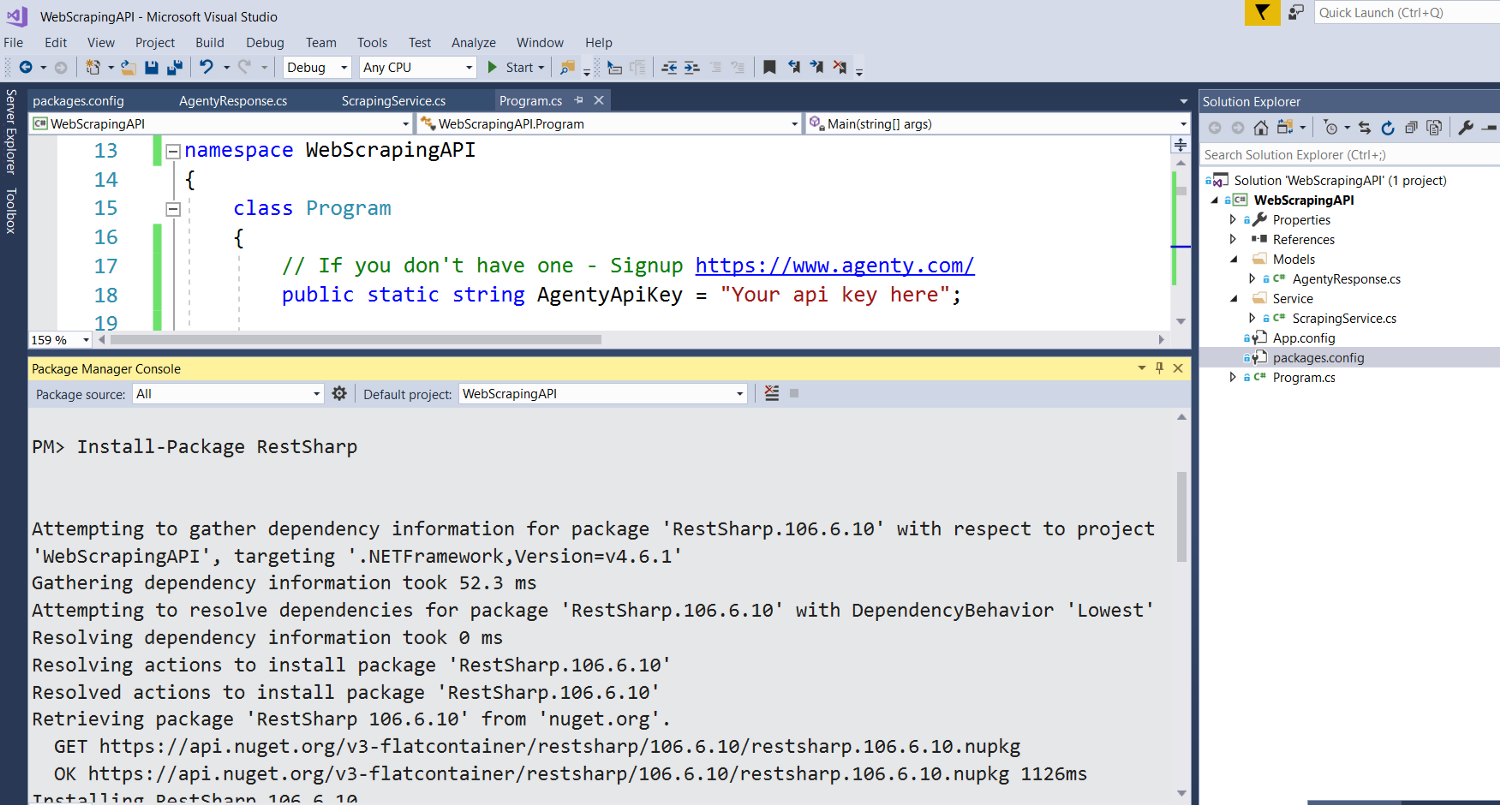 install package in web scraping api project