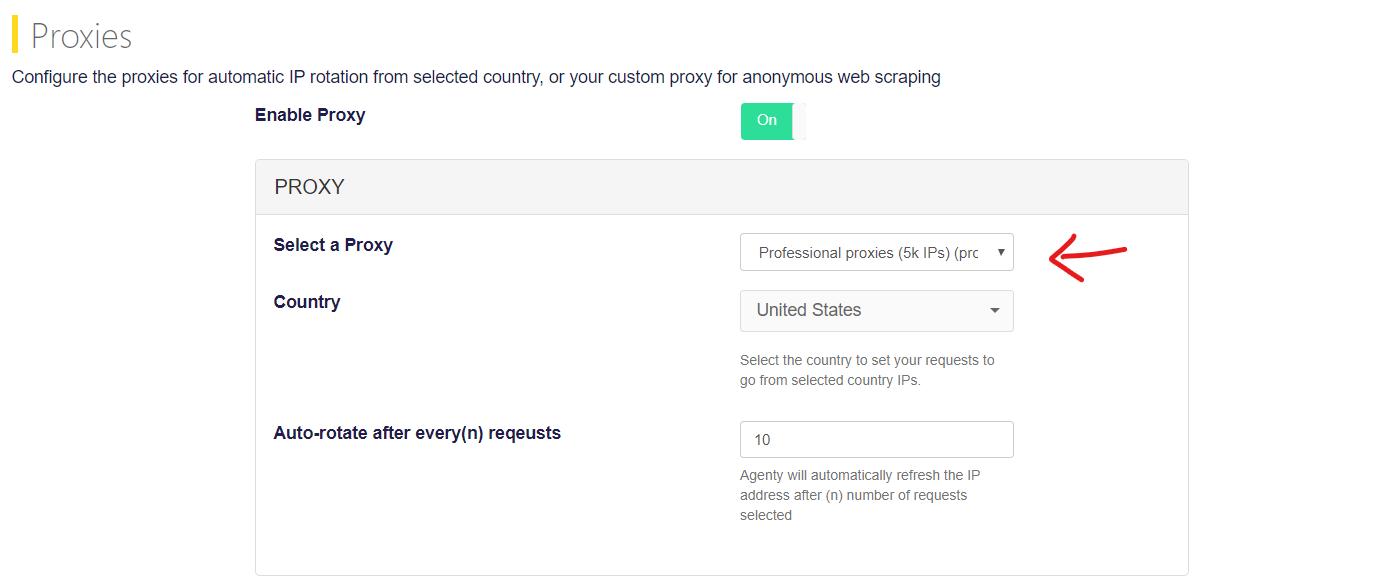 proxy settings in web scraping