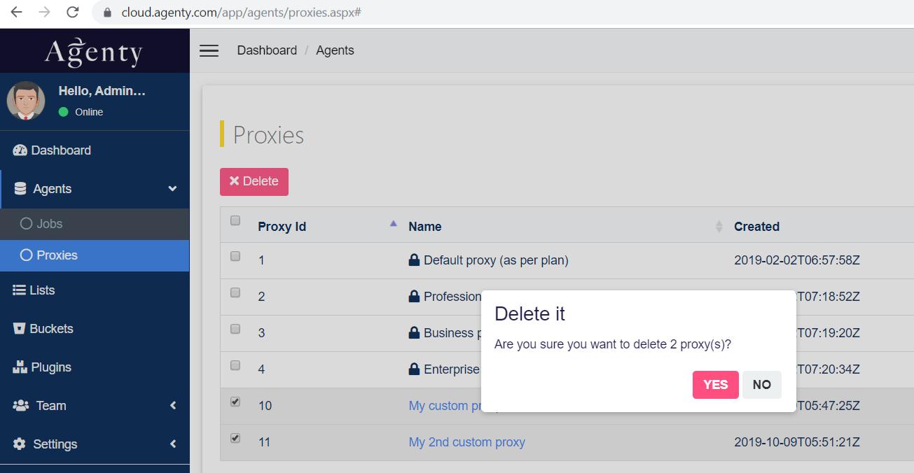 delete a proxy