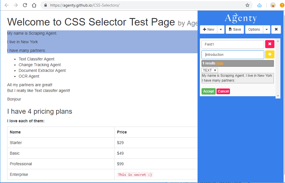 web scraping using class selector