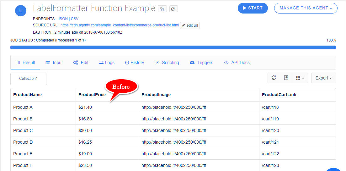 LabelFormatter Function Example-before