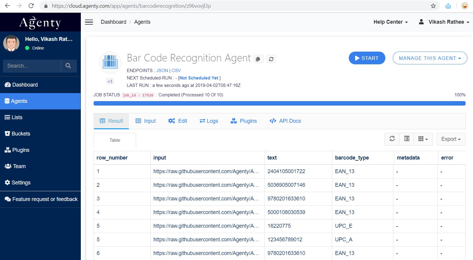 Barcode Recognition Agent