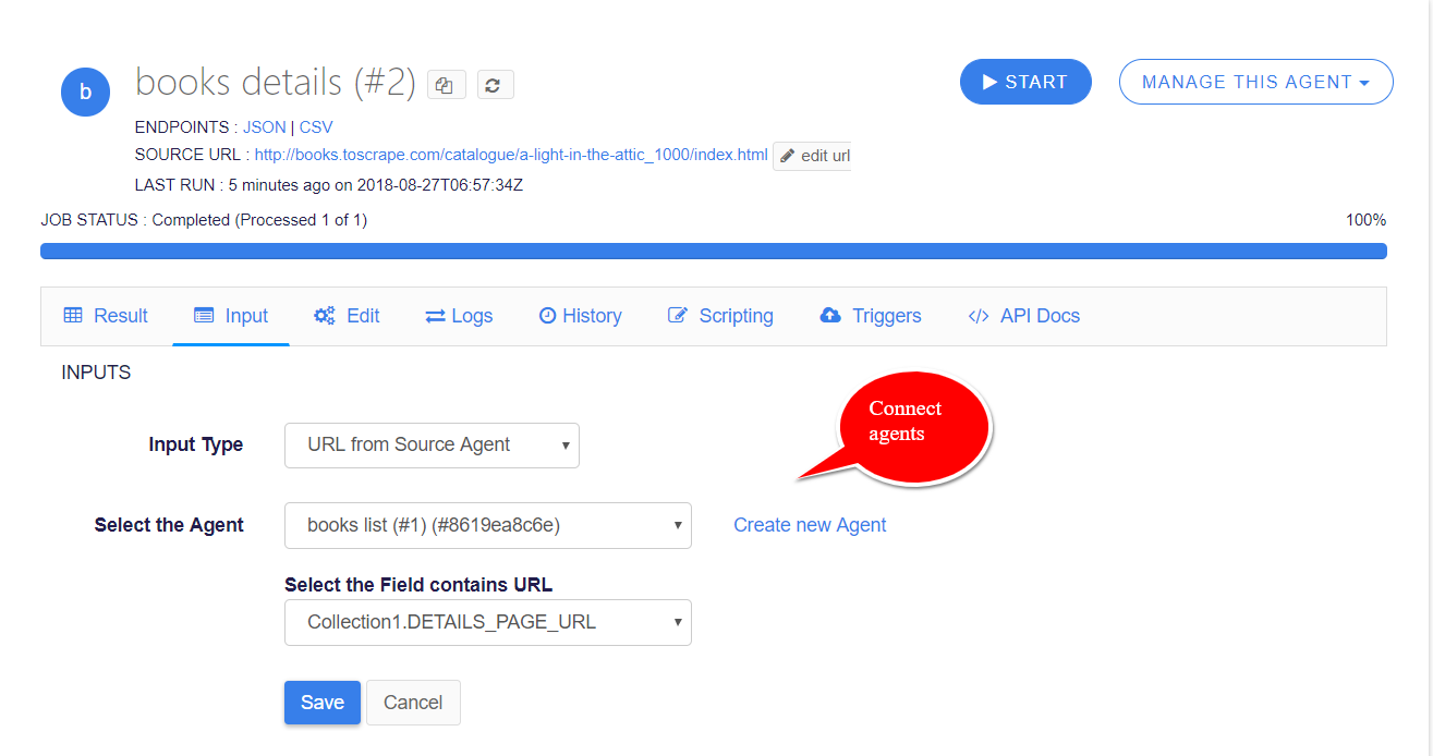 connect agents using source url