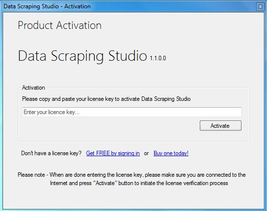 data scraping studio license activation