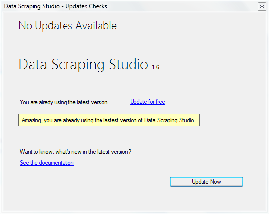 data scraping studio updates check