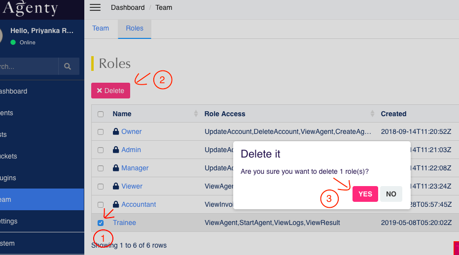 delete a role
