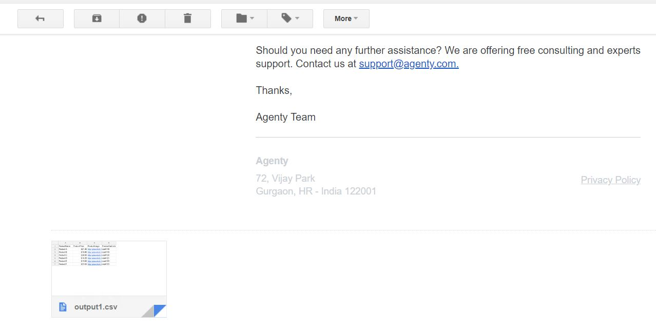 Email attachment result