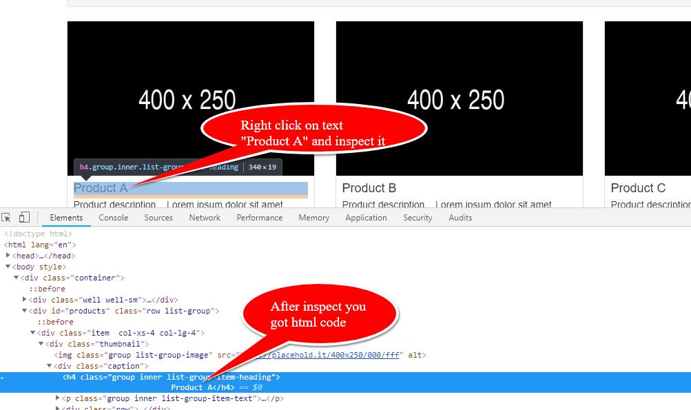 html inspect code