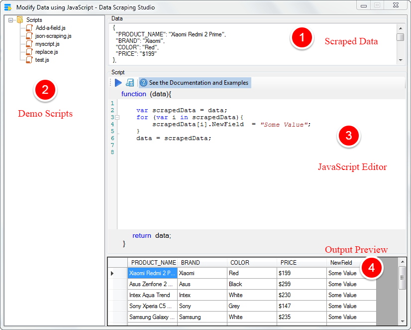 Modify Scraped Data using JavaScript