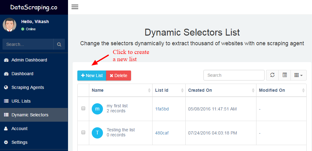 dynamic selector list in site scraping
