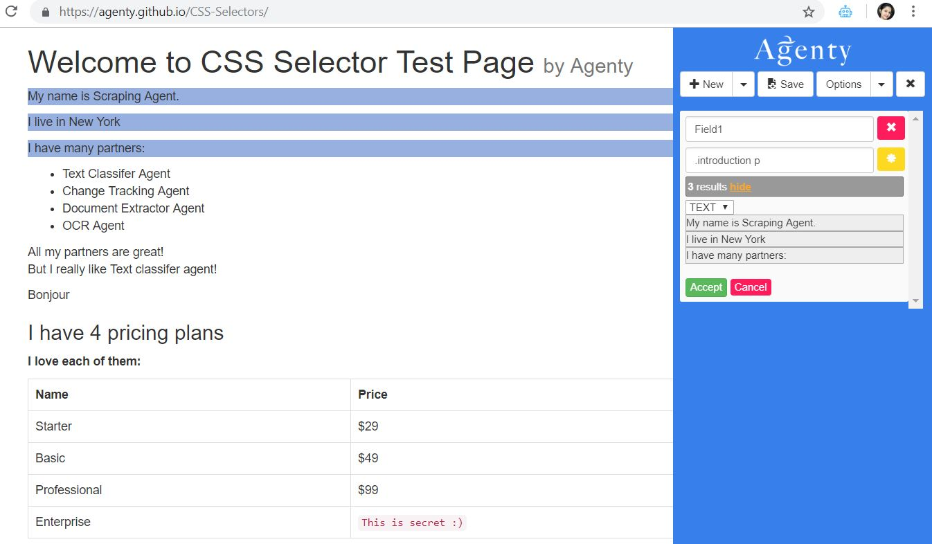 parent child selector for scraping websites
