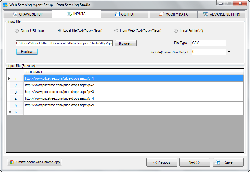 input from CSV for scraping