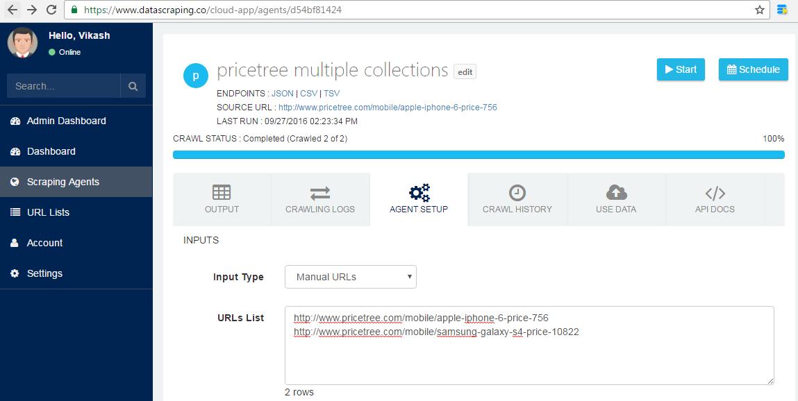 running online web scraper