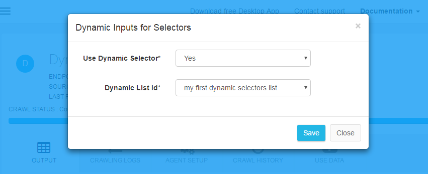 select dynamic selectors to extract the data