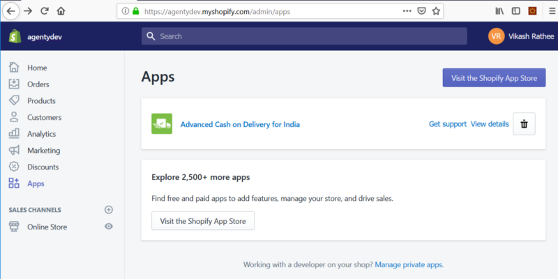 shopify private app for agenty
