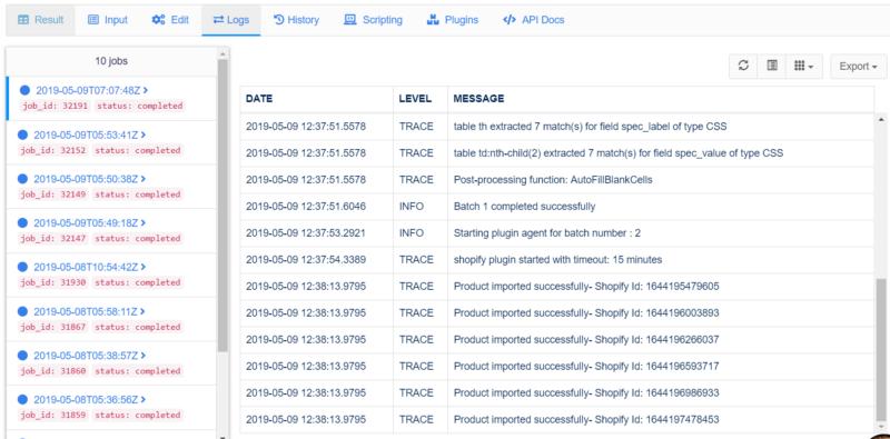 shopify web scraper logs