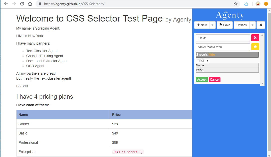 Scraping Data using CSS Selectors | Agenty