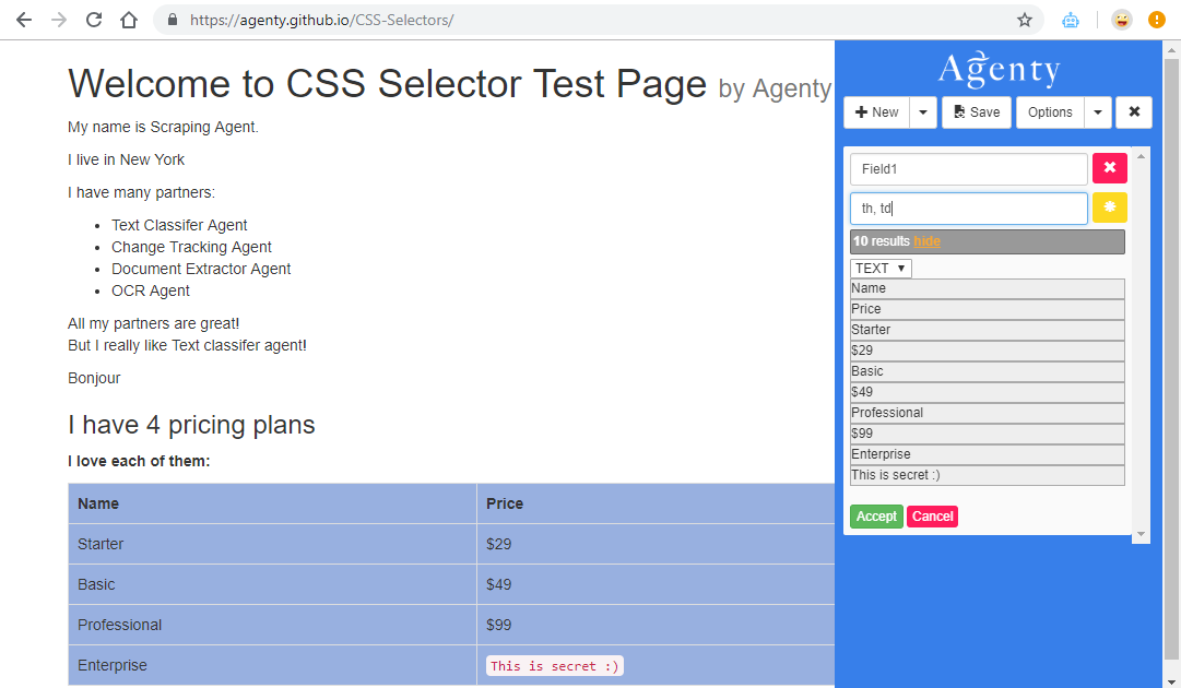 web scraping using multiple selector
