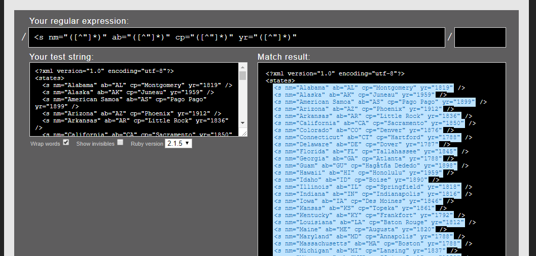 xml regex screenshot